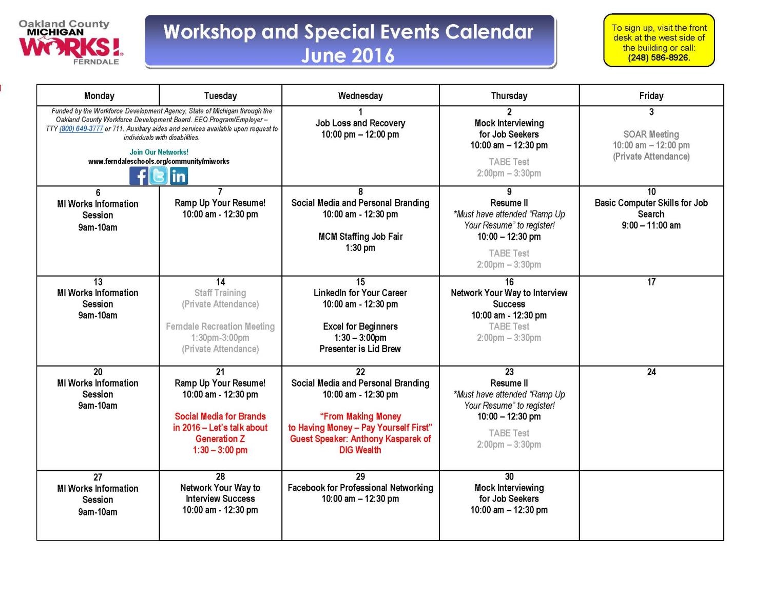 June Workshop Calendar 2016 Final
