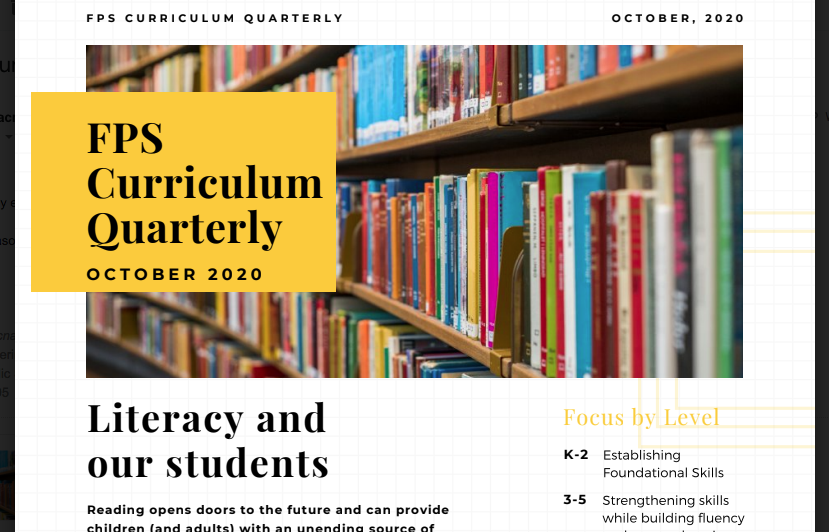 Click to view the Curriculum Quarterly for October 2020.