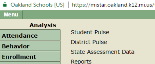 Click on State Assessment date in the right menu after Student Pulse and District Pulse