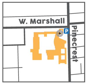 Map to enrollment office entrance showing Northeast entrance at the corner of West Marshall and Pinecrest