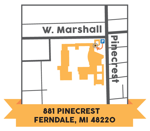 The enrollment office entrance is located in the Northeast corner of Ferndale High School