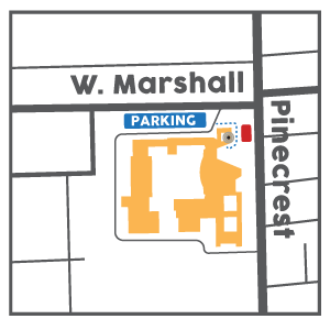 Map to enrollment office entrance showing Northeast entrance at the corner of West Marshall and Pinecrest. Parking closed on Pinecrest due to construction. Park in front of Ferndale Middle School to the North and walk to the Northeast Entrance.