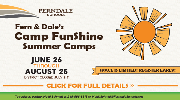 Camp Funshine Summer Camps: June 26 through August 25. Register Here