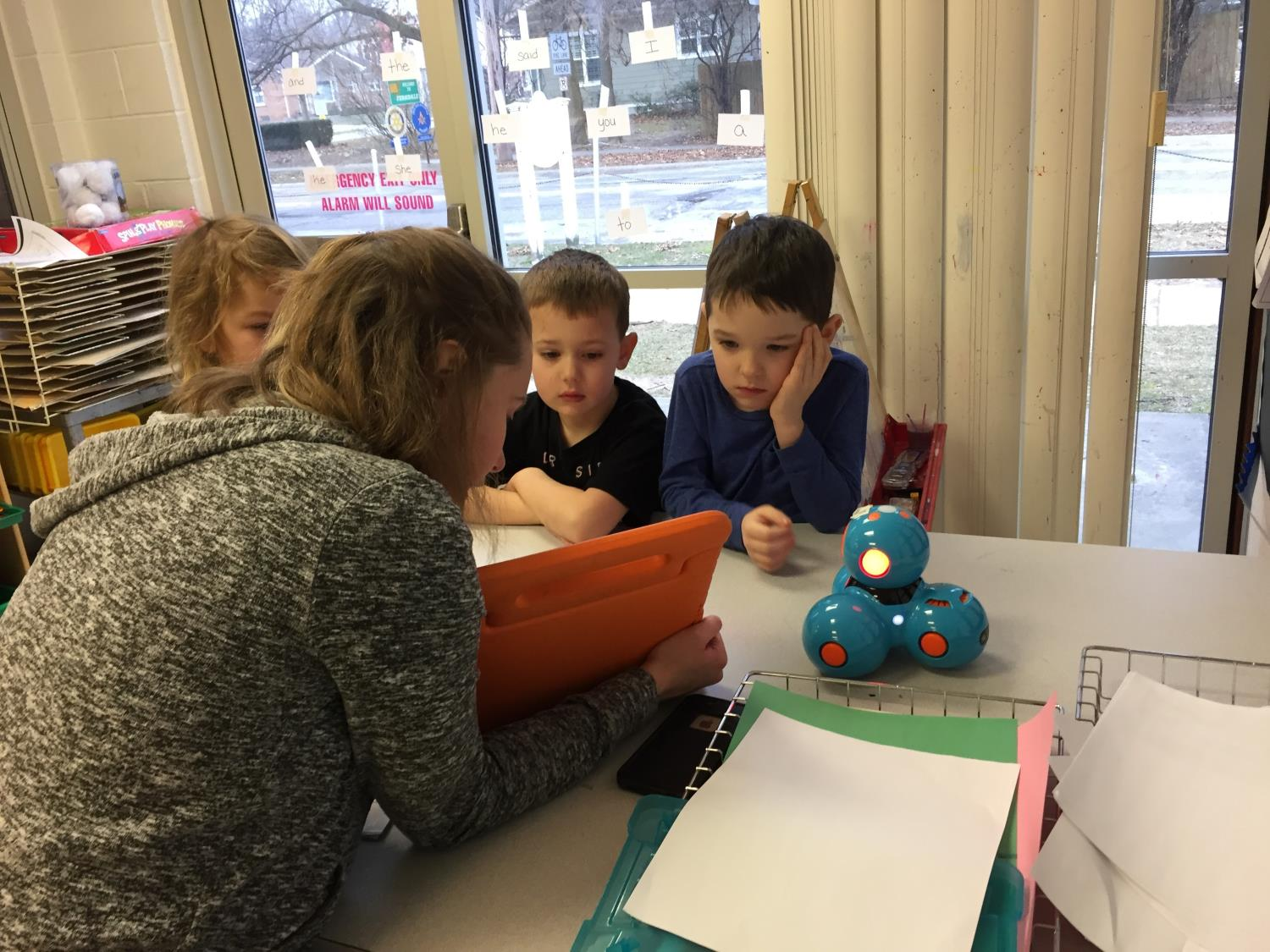 Students learn to plot the robots path using a coding app.